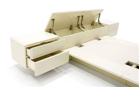 nightstand with l attached ivory platform bed with attached nightstands and