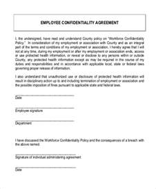 employment confidentiality agreement template sle confidentiality agreement form 9 free documents