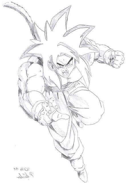 imagenes de goku fase 4 para dibujar dibujo de goku fase 4 en posicion de pelea para imprimir y