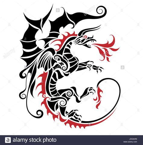 dancing dragon tattoo tribal stock photos tribal