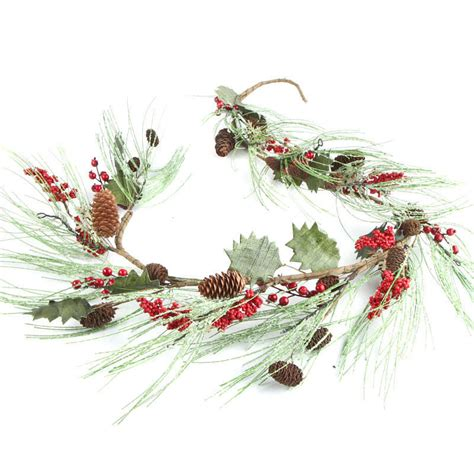 frosted holiday artificial pine garland garlands