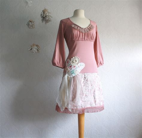 pink shabby chic dress upcyced women s clothing dusty rose