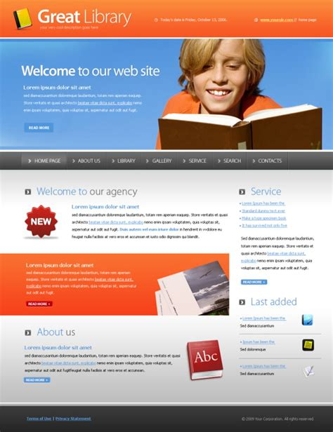 templates for library website free download great library webpage template 5547 education kids