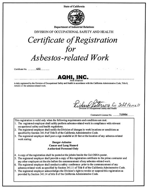 asbestos awareness certificate template aqhi inc advanced quality hazmat industries