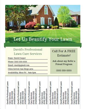 free printable lawn care card templates printable lawn care business flyer templates