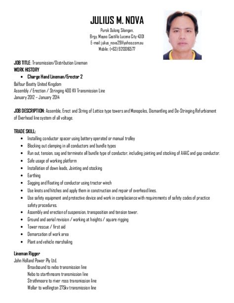 Lineman Resume by Distribution Lineman Resume