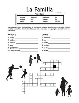 La Familia Worksheet Pdf la familia family crossword puzzle worksheet by