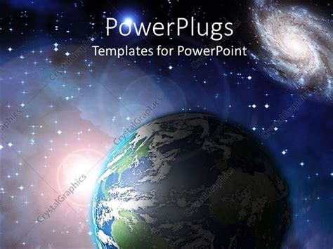 Powerpoint Template Earth Floating In Space With Lots Of Stars And Sun Ray 10244 Earth Powerpoint Template