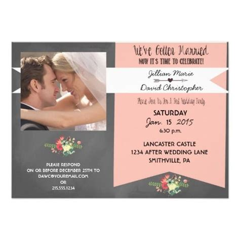 wedding reception invitation after marriage floral photo after wedding invitation