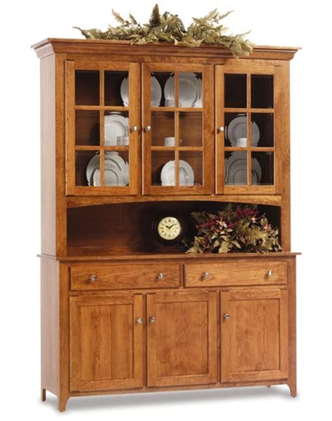 Hutches For Dining Room by Shaker 3 Door Amish Hutch Amish Dining Room Furniture Sugar Plum Oak Amish
