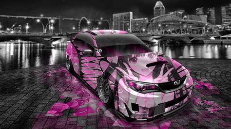 pink subaru subaru impreza wrx sti jdm tuning anime aerography car