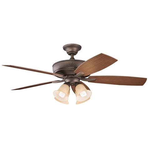 Kichler Ceiling Fan With Alabaster Glass Light Kit In Copper Ceiling Fan With Light