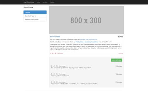 start bootstrap shop item template for bootstrap 3