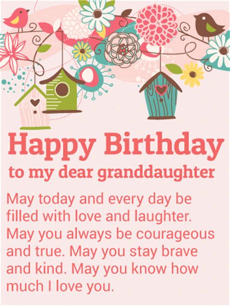 Happy Birthday Wishes To My Granddaughter To My Dear Granddaughter Happy Birthday Wishes Card