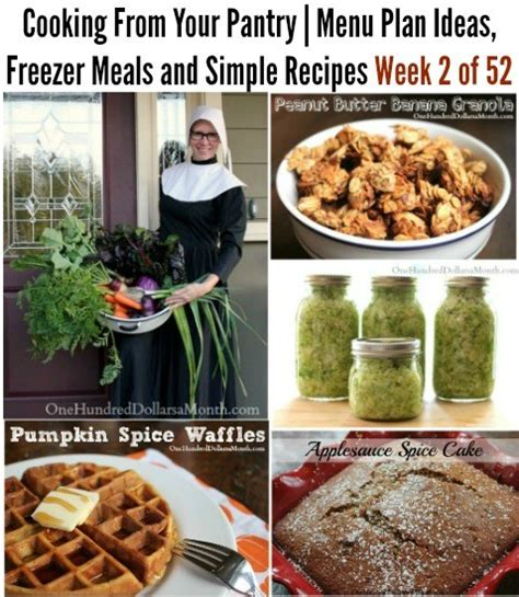 Pantry Lunch Ideas by Cooking From Your Pantry Menu Plan Ideas Freezer Meals
