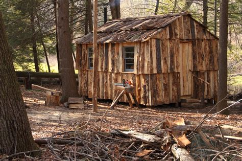 tiny house on slab cabin built of slab wood by dave sinaguglia near hartford