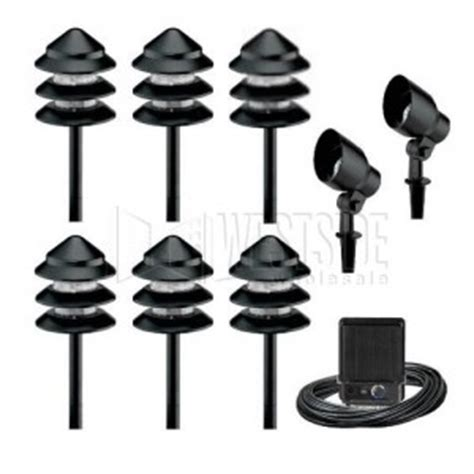 Discount Low Voltage Landscape Lighting Malibu Lighting Lt13609th 8301 9907 08 7w 20w Low Voltage Metal Tier Light Kit 8 Pack Black