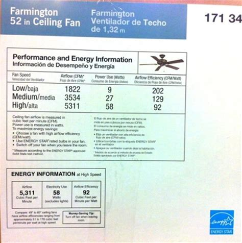 Ceiling Fan Air Flow Comparison - how energy efficient is your ceiling fan