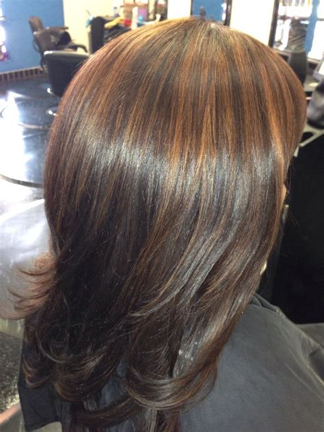 prices for cut dye highlights mocha base color with customized copper highlights