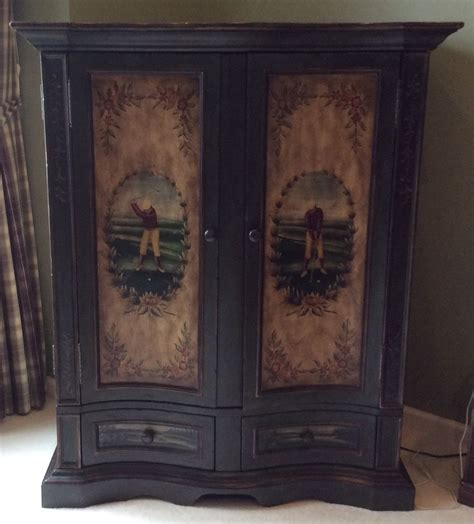 painted tv armoire quot golf motif quot armoire tv cd with hand painted golfing