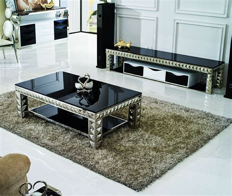 Glamorous Glass Tables For Living Room featuring Black