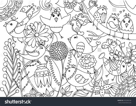 coloring book by nature for adults relaxation don juan s coloring books books birds flowers coloring page black white stock vector