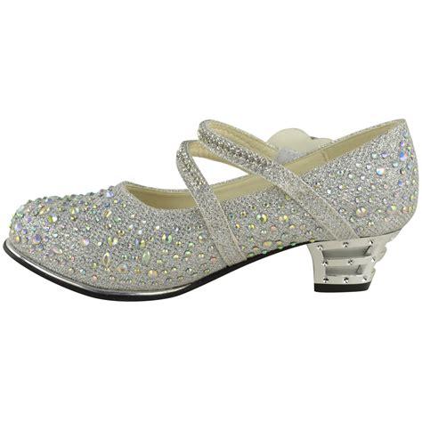 childrens low mid high heel diamante