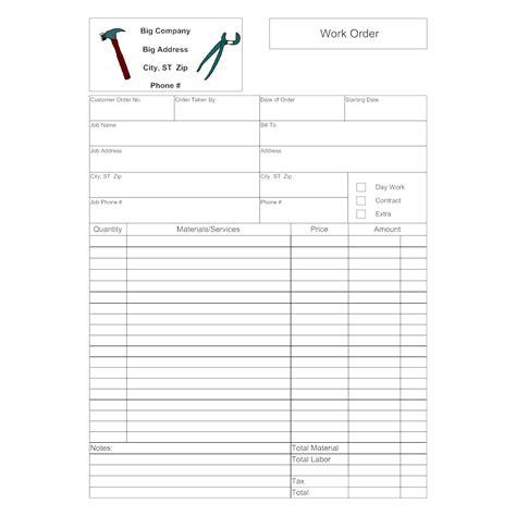 work order form samples pro88 tk