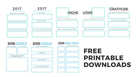 Free Printable Downloads 2018 Goal Setting The Second Muse 2018 Goal Setting Template