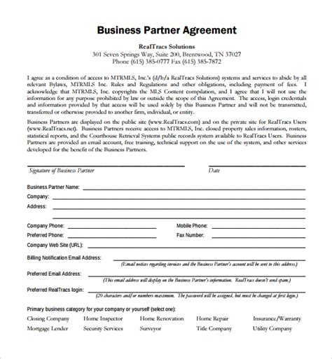business partnership agreement business partnership agreement template business
