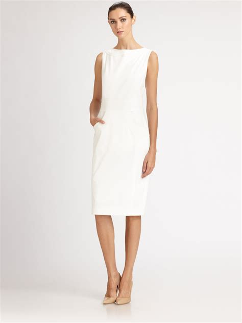 Cotton Dress lyst carolina herrera stretch cotton dress in white