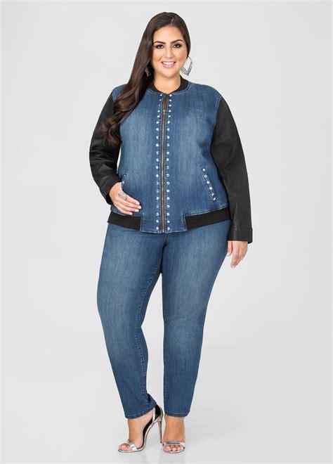 Jaket Mtma Blue Black stewart faux leather trim jean in blue lyst