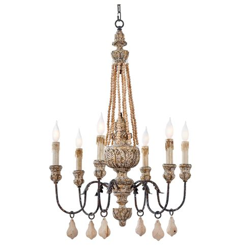 Country Chandeliers Ronsard Country Wood Bead Parisian Chandelier Kathy Kuo Home