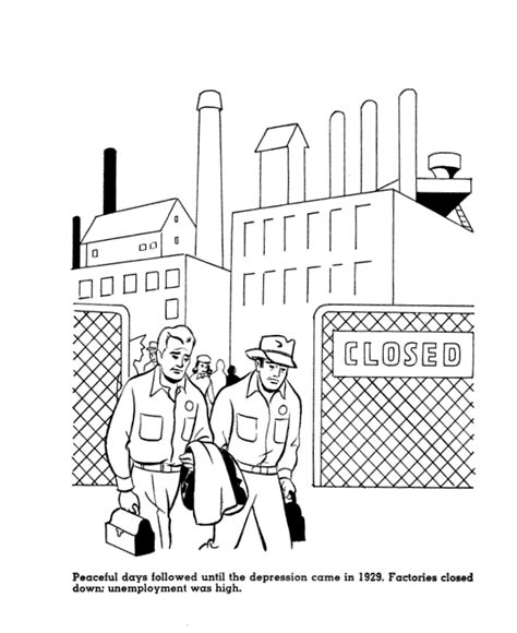 great sheets great depression factories closing coloring page the