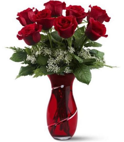 Red Flower Vase Classic Simple Valentines Day Bouquet With Red Roses With