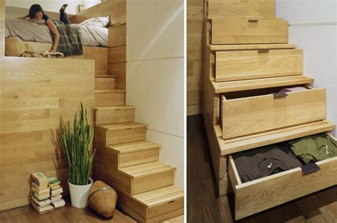 Bedroom Storage Stairs Small Space Living Staircase Storage At Home With