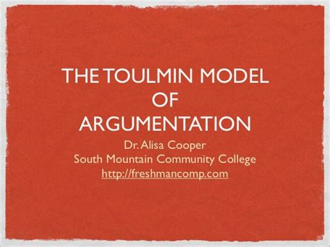 toulmin sle essay slide show of the toulmin model of argumentation crwt