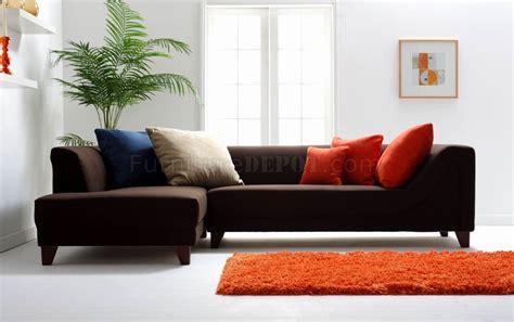 modern brown couch dark brown fabric modern sectional sofa w wooden legs