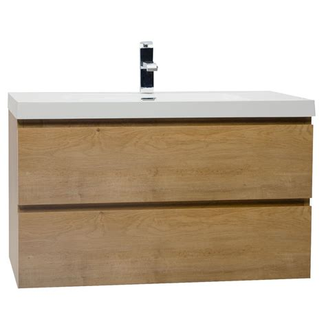 wall hanging bathroom vanity buy angela 35 5 inch wall mount bathroom vanity in natural