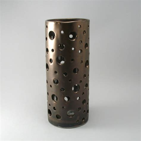 vase in bronze finish by cheryl wolff ceramic vase