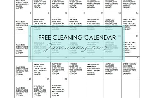 Cleaning Calendar Simply Clean Free Cleaning Calendar For January 2017