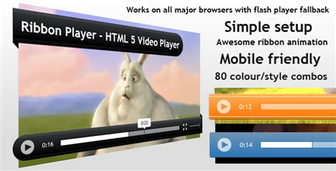 Ribbon Player Html5 Animated Video Player By Iamalexkempton Codecanyon Flash Player Website Templates