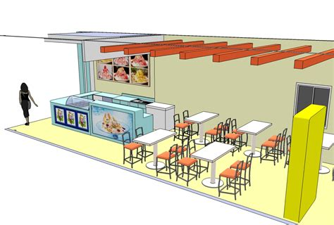 architect online 3d image design concept ice cream shop style casual