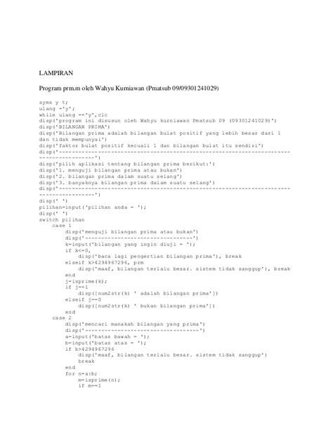 Contoh program matlab