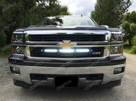 removable led light bar 2014 up silverado 1500 2500 3500 behind grille 30 quot led