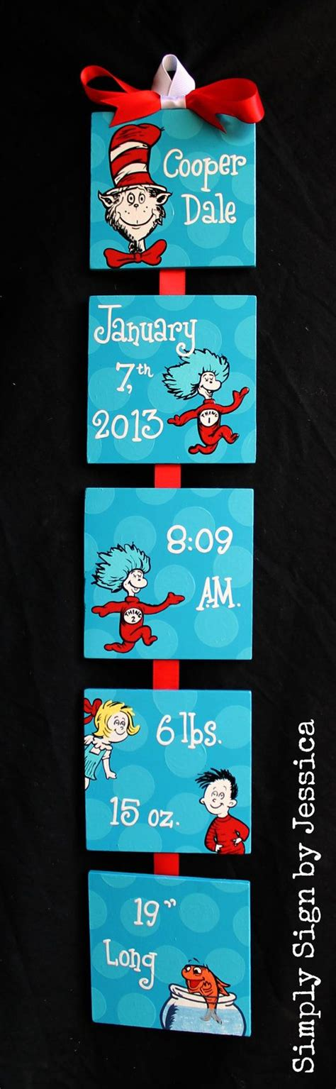 Cat In The Hat Dr Seuss Style Birth Announcement For Baby Cat In The Hat Nursery Decor