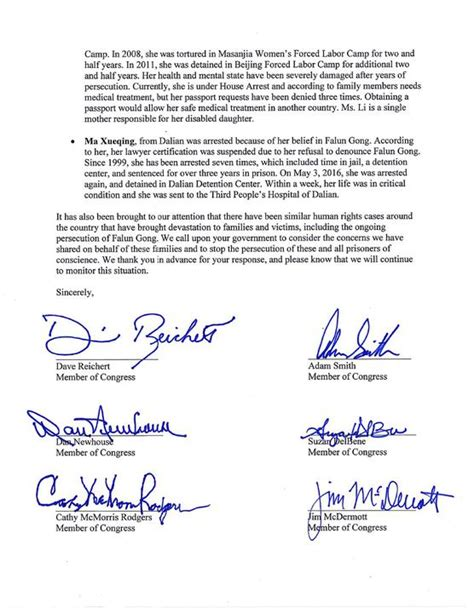 Release Letter China U S Lawmakers Write To President Request Release Of Imprisoned Falun Gong