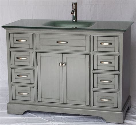 46 inch bathroom vanity cottage style glass top