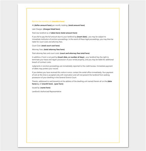 Late Rent Letter From Landlord Tenant Letter Template 9 Docs Sles Exles Dotxes