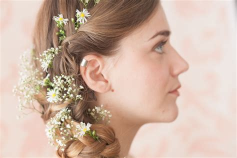 wedding hair with gypsophila wedding hair with flowers ideas festival inspired hair
